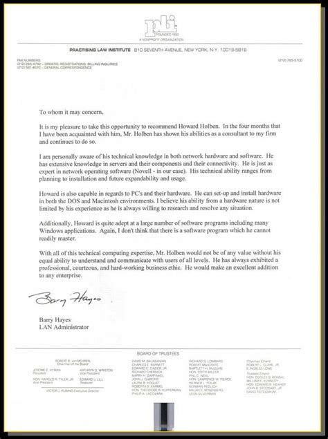 Recommendation Letter For Technology Howard Holben Information Technology Professional Letters Of Recommendation 6