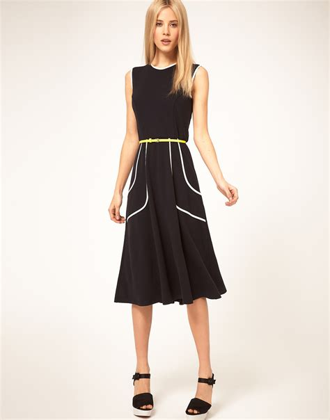 asos collection midi dress with belt and pleat detail in