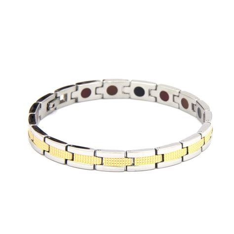 stainless gold steel negative ion bracelet by