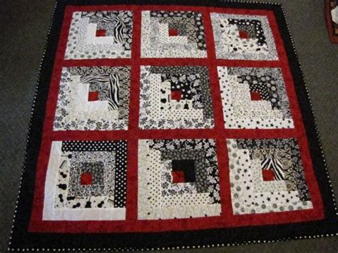 black and white quilt pattern ideas log cabin black white and red lap quilt football