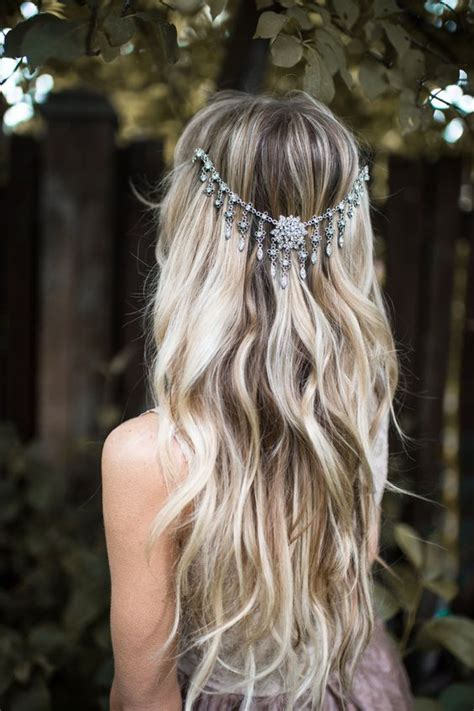 Wedding Hairstyles With Jewels by Picture Of A Boho Chic Wavy Wedding Hairstyle With Silver