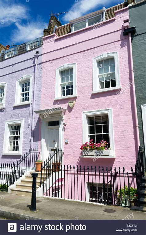 buy house in chelsea colourful terraced town house on bywater street chelsea london stock photo royalty