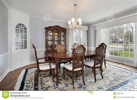 with picture dining room with picture window royalty free stock photo