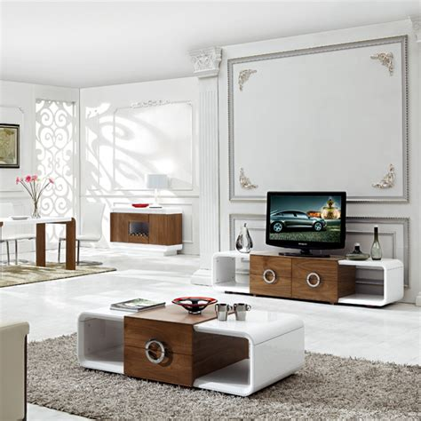 Living Room Drink Stand Bn High Gloss White And Walnut Coffee Table And Tv Stand