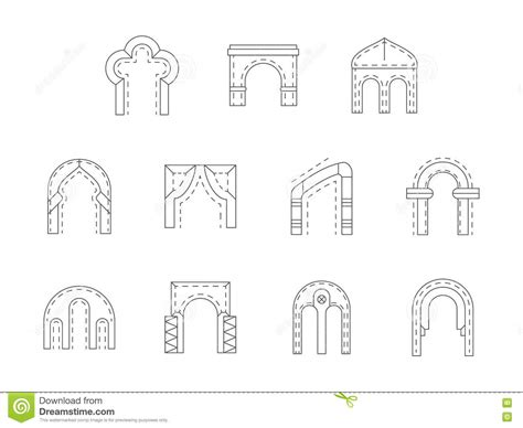 architectural pattern types set of stone archway flat line icons stock photo image