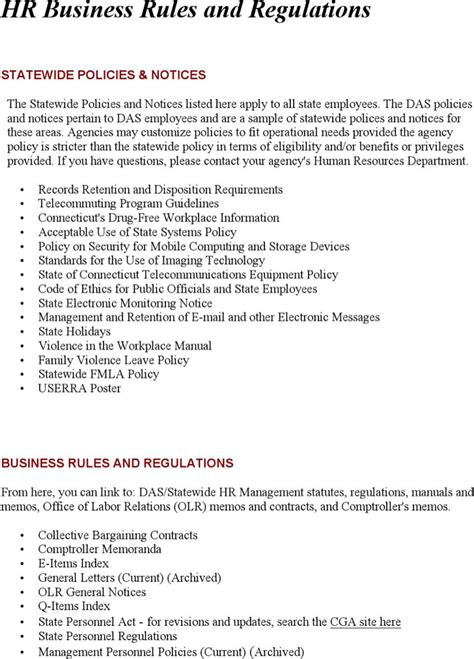 company rules and regulations for employees c to f