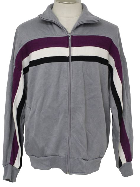 Longsleeve Hush Puppies 80 s vintage jacket 80s hush puppies mens grey purple white and black acrylic longsleeve