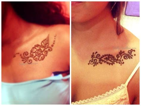 henna tattoo designs for chest henna on collarbone floral henna chest