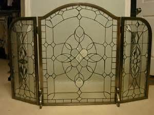for sale 3 fold pewter leaded glass fireplace screen