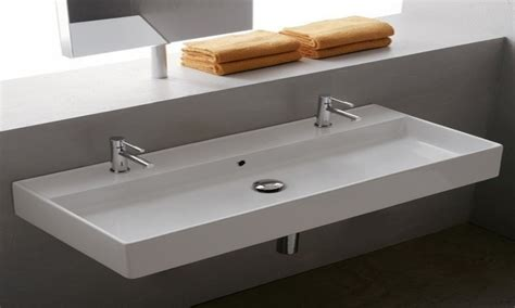 bathroom with 2 sinks quot trough quot faucet for vessel sink delta quot