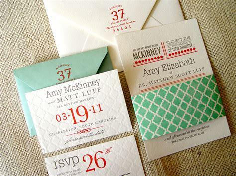 Blind Embossed Stationery Amy Matt S Geometric Pattern Wedding Invitations