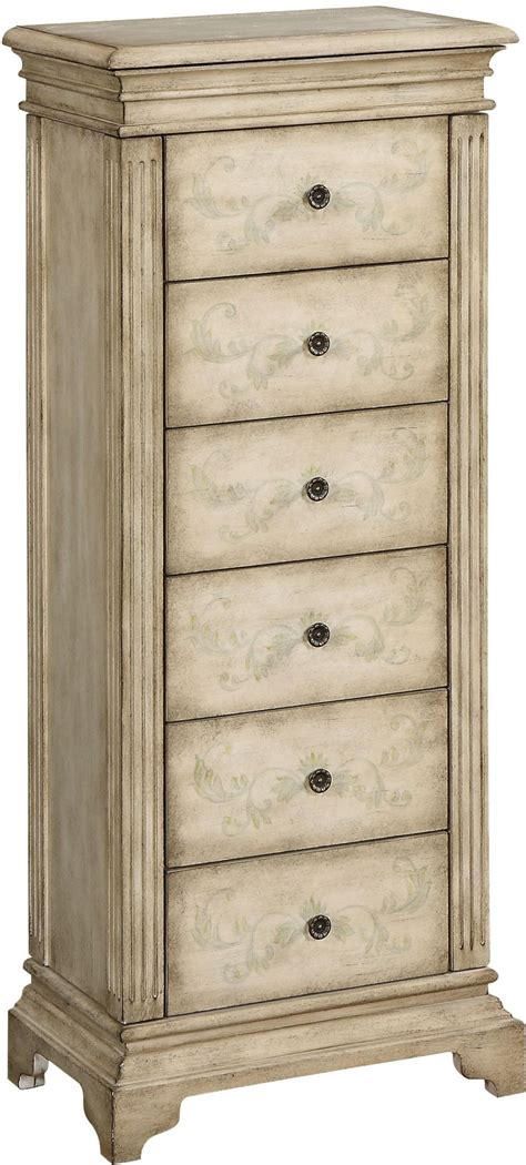 Distressed Armoires by Gilston Distressed Ivory Jewelry Armoire 91793 Coast To