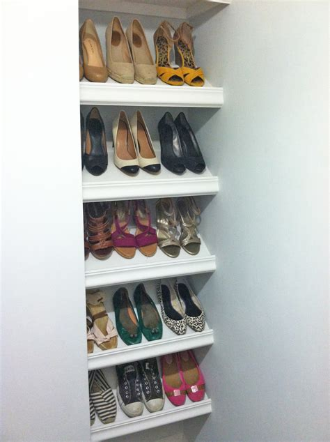 shelves for shoes wood work slanted shoe shelf plans pdf plans