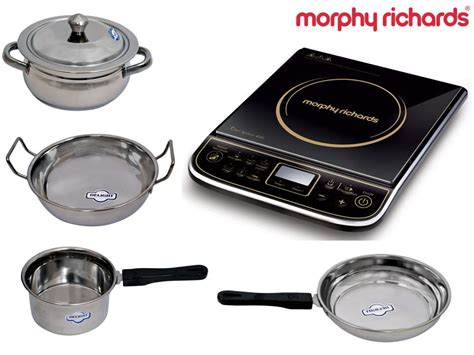 kitchen cookware induction indiatimes shopping deal morphy richards induction cooker chef xpress with cookware set price rs