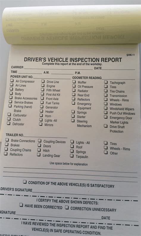 vehicle inspection report book vehicle inspection report book style no 1187