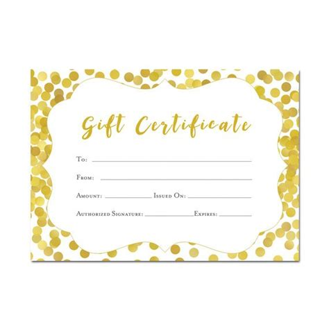Gold Gift Card Template by Gold Gift Certificate 5x7 Glitter Confetti Printable