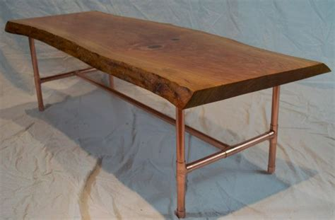 Copper Table Legs by Live Edge Slab Cherry Coffee Table With Copper Piping Legs