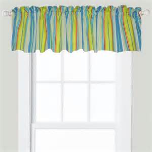 Blue Green Window Valance Bright Blue Green Stripe Balloon Valance Tropical Linens And Accessories