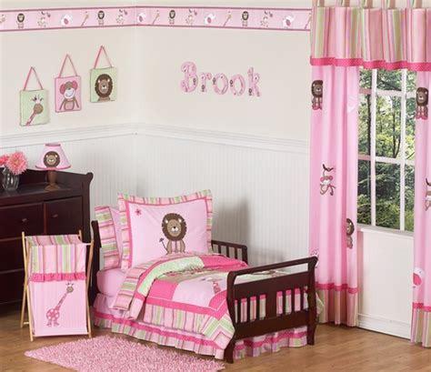 Pink Toddler Bedding Sets Pink And Green Jungle Toddler Bedding 5pc Set Only 99 99