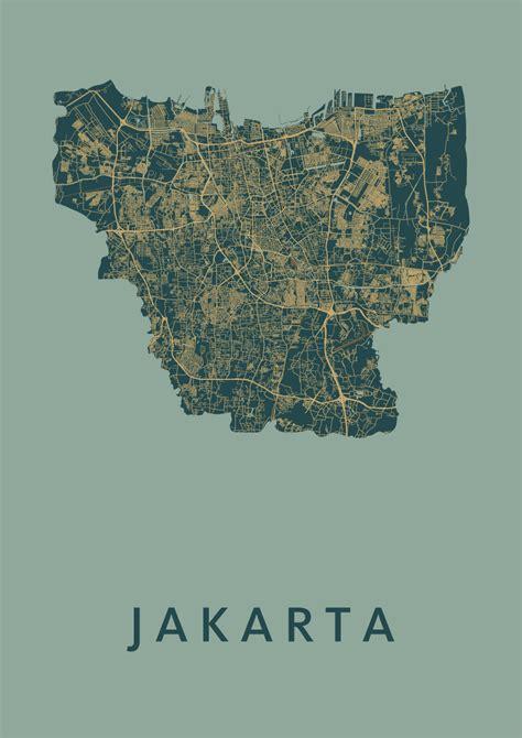 amazon jakarta jakarta amazon stadskaart poster kunst in kaart