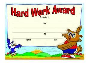 hard work award certificate merit stickers