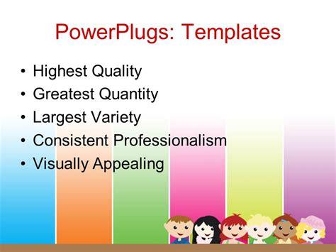theme ppt cartoon powerpoint template a cartoon theme of six kids standing