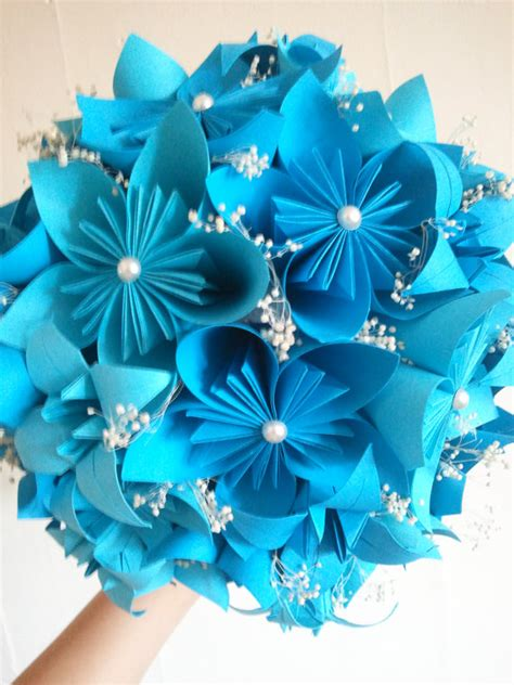 Origami Boquet - blue origami flower bouquet origami wedding by