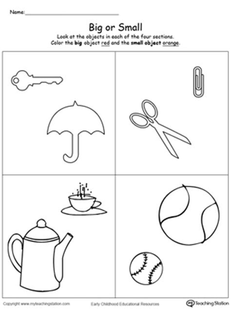 printable shapes big and small comparing objects sizes big and small printable maths