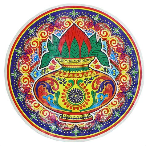 printable sticker paper india rangoli paper sticker with coconut kalash print dia 14