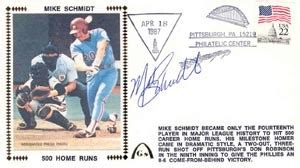 mike schmidt autographed gateway cover of hitting home run