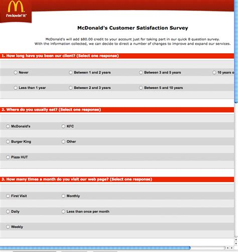 Oh Survey by Mcdonalds Scam Definitely Not Oh No If You Eat At