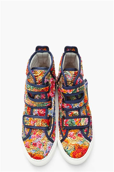 lyst raf simons multicolor textured floral velcro sneakers for