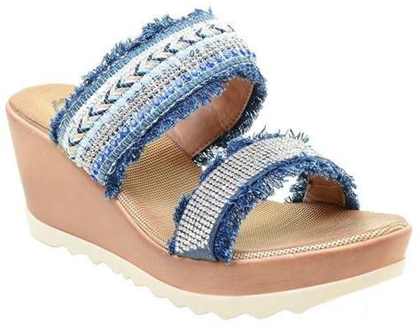 Wadges Boot Denim Sneakers Denim blue denim rhinestone wedge platform s sandals