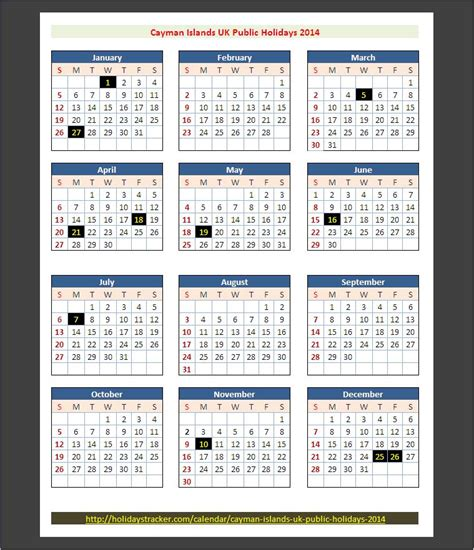 Calendar Islands Cayman Islands Holidays 2014 Holidays Tracker