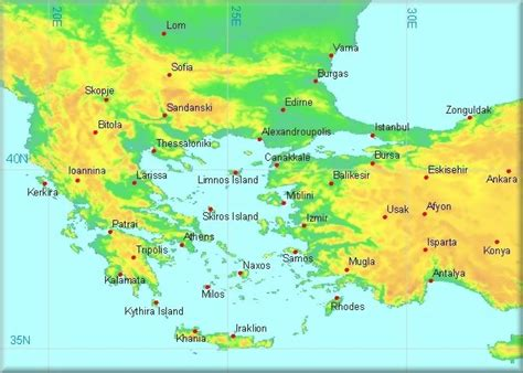 printable map of turkey and greece climatological information for greece and western turkey