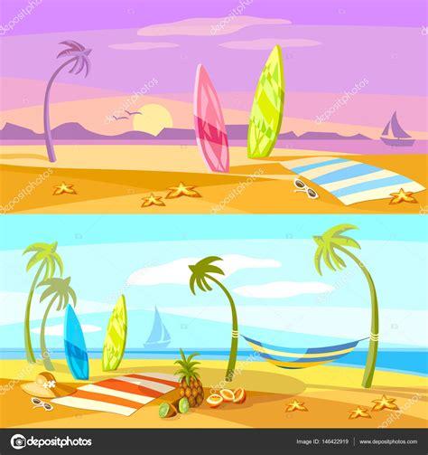 imagenes animadas vacaciones playa verano vacaciones playa sunset escena vector dibujos