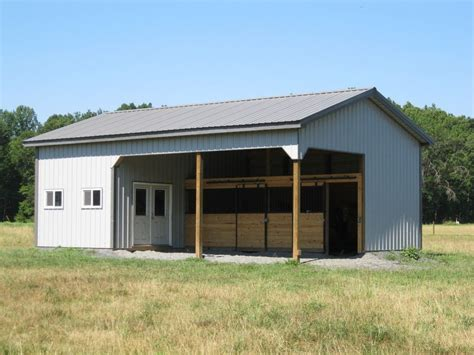 Two Stall Horse Barn 24x36 2 Stall Horse Barn With 12x24 Tack And Hay Storage