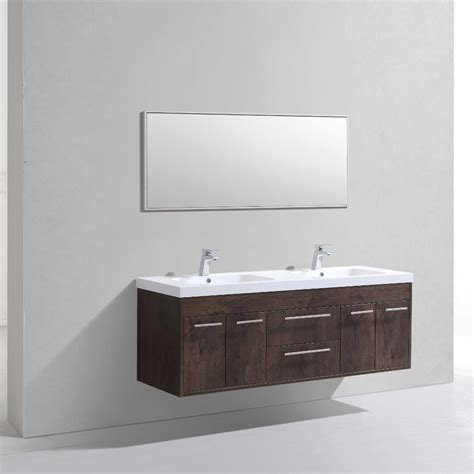Modern White Bathroom Vanity Eviva Lugano 60 Quot Rosewood Modern Bathroom Vanity Wall Mount With White Integrated Acrylic