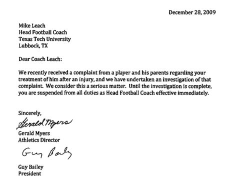 Response Letter To Being Fired Mike Leach Fails In Battle Firing At Tech
