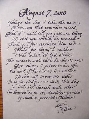 This is beautiful! Letter to the mother of the groom, from