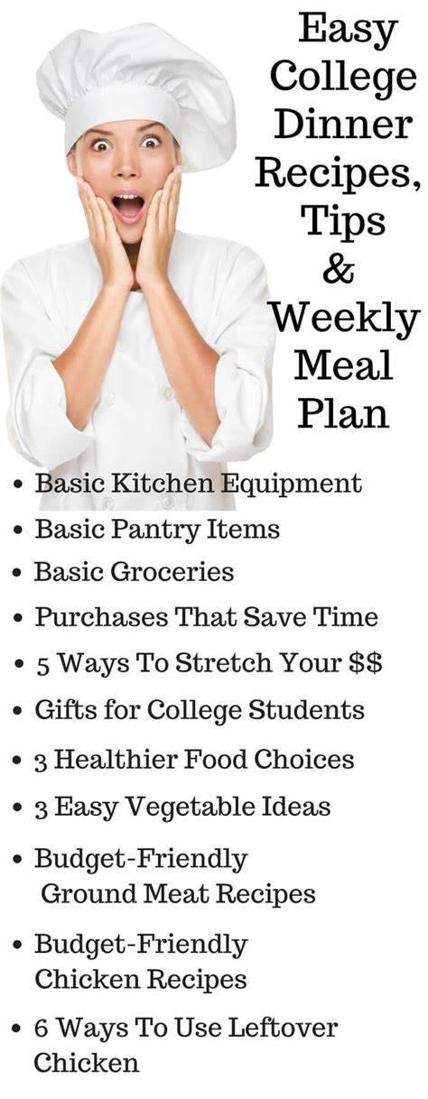 ideas  college meal planning  pinterest