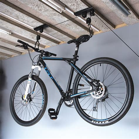 Bicycle Hanger Ceiling by Bicycle Lift Ceiling Mount Pulley Cycle Bike Hanger Garage