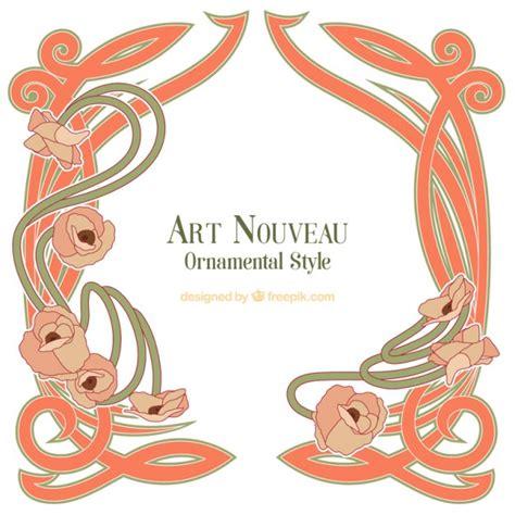 decorative nouveau frame vector free