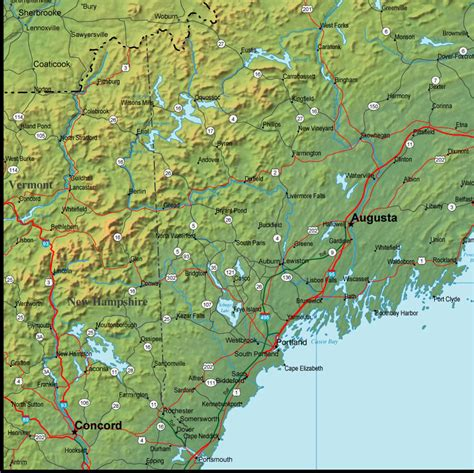 physical map of maine maine map and maine satellite image