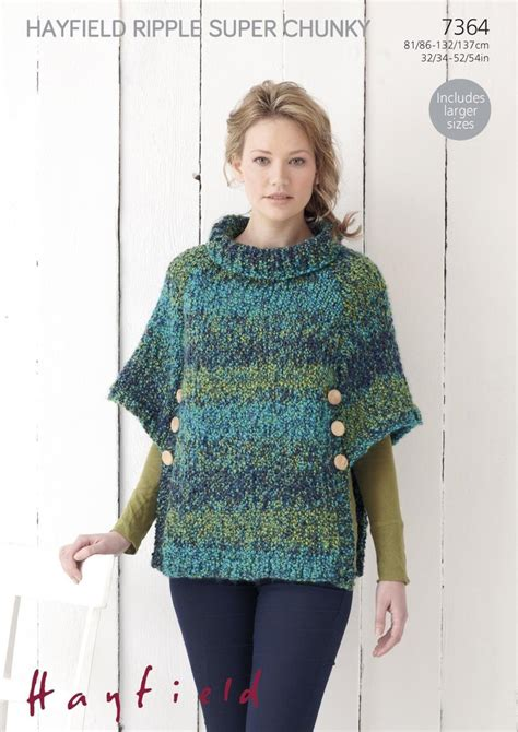 knitting patterns womens poncho sirdar 7364 knitting pattern womens poncho in hayfield
