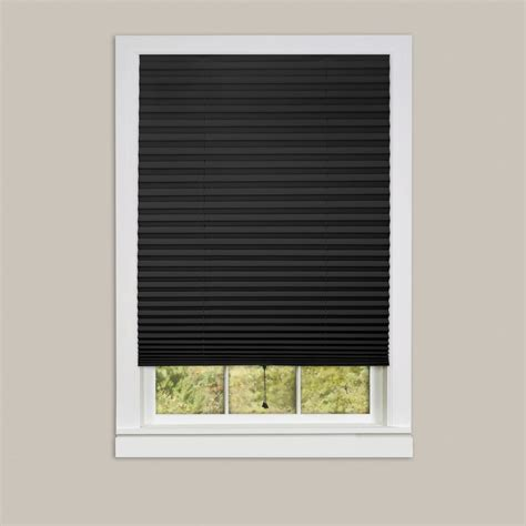 l shades cordless pleated window shades room darkening vinyl blinds 75 quot l white black ebay