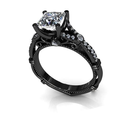 princess cut black rings for princess cut