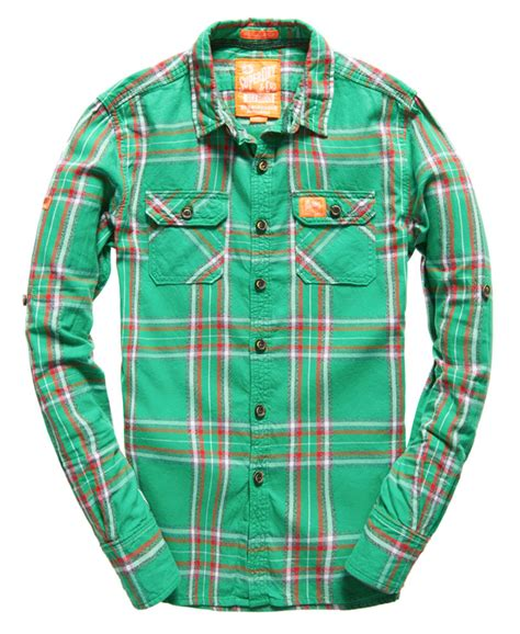 pattern green lumberjack shirt new mens superdry lumberjack twill shirt reef green check
