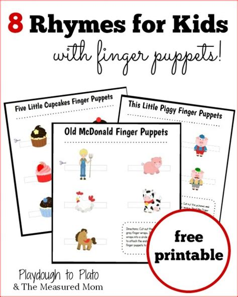 8 free nursery rhymes with printable finger puppets free