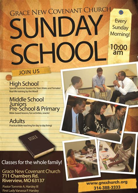 Grace New Covenant Church Transforming Lives Families And Communities Christian Education Sunday School Flyer Template